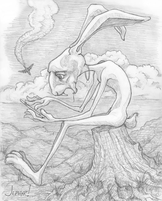 """Hare Brained; - Pencil Drawing - Copyright 2019, Jephyr (Jeff Curtis), All Rights Reserved"