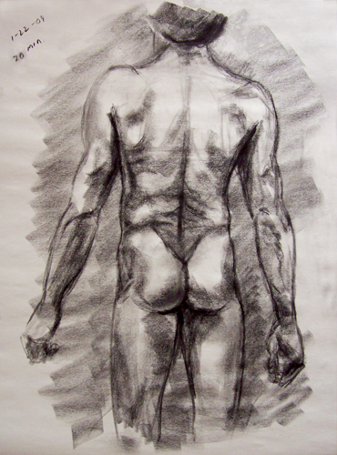 Image: Copyright 2009, Jeff Curtis, All Rights Reserved. 20 Min Gesture Drawing - Life Drawing III, 1-22-09. Charcoal on smooth newsprint paper, 18 x 24